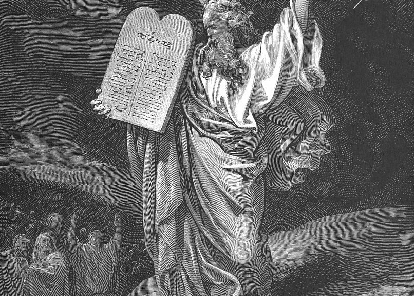"""Moses Comes Down from Mount Sinai (Ex. 19:25,20:1-17)"" by Gustave Doré"