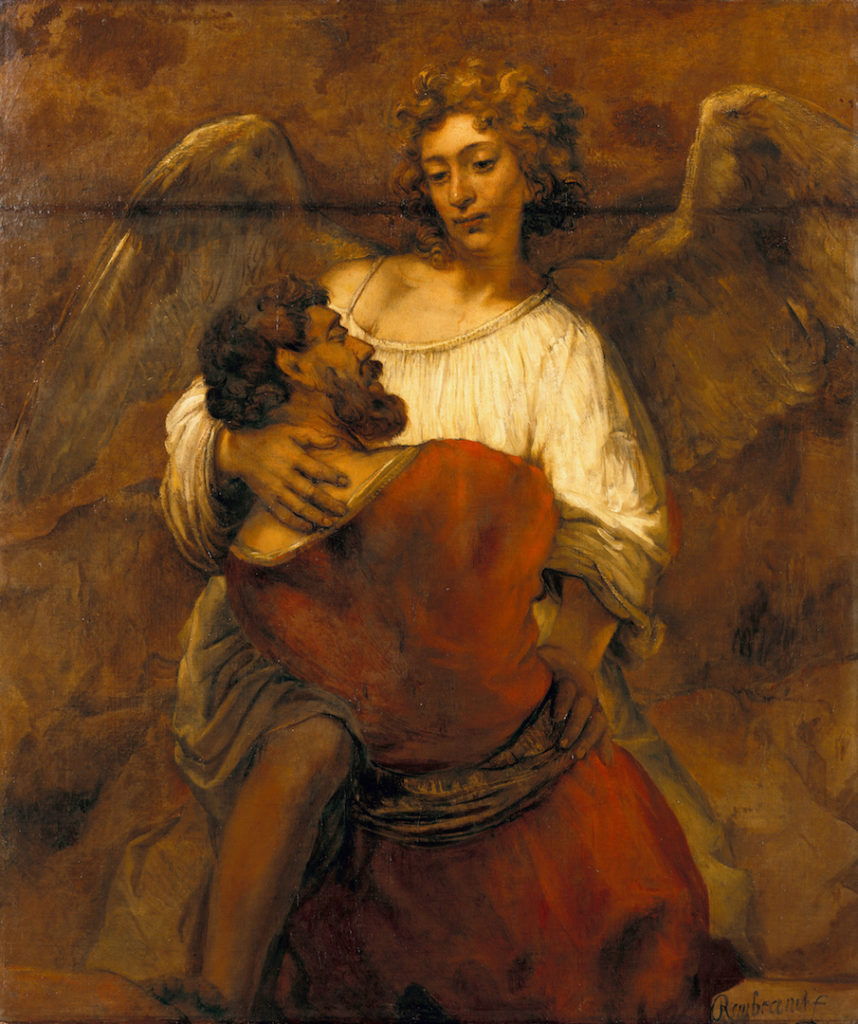 """""""Jacob Wrestling With the Angel"""" by Rembrant"""